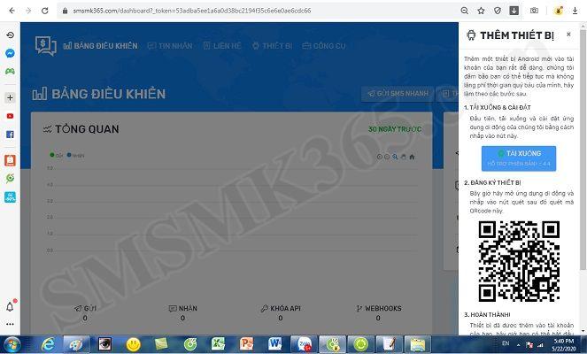 Thêm thiết bị điện thoại thông minh vào nền tảng smsmk365.com