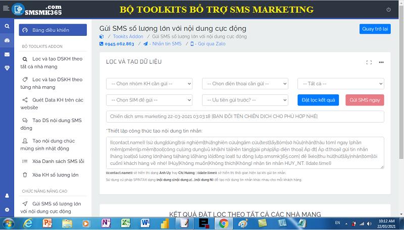Bộ công cụ bổ trợ hoạt động sms marketing nâng cao
